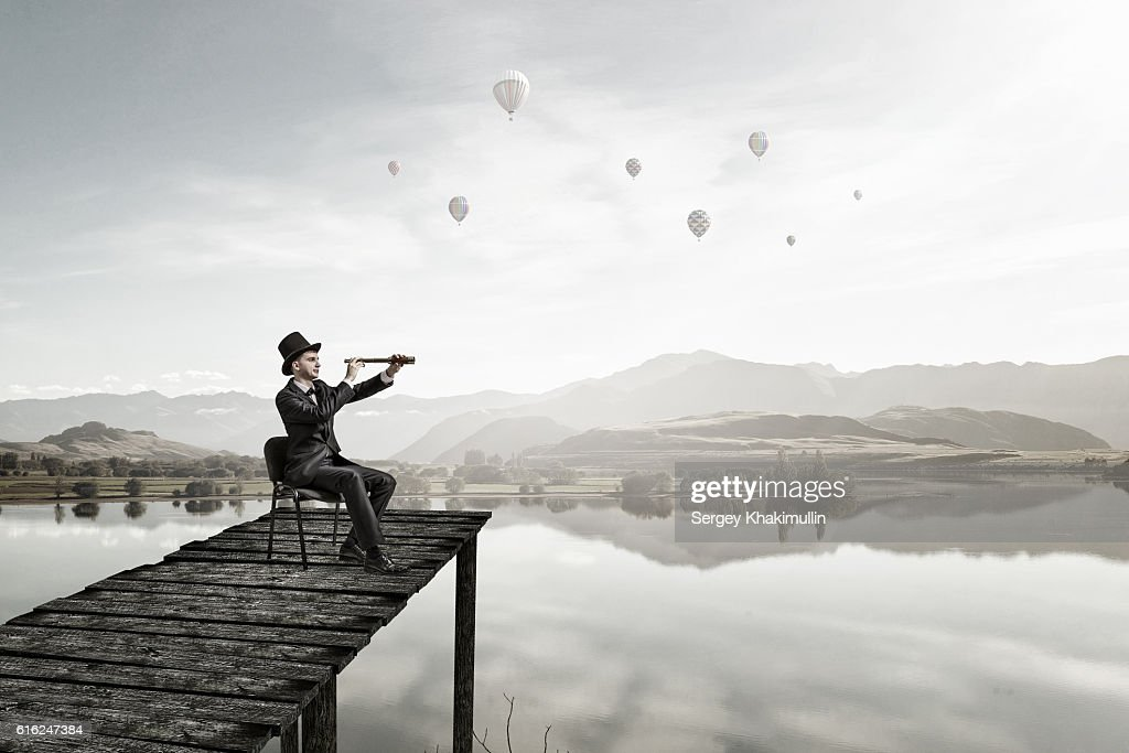Searching for new perspectives . Mixed media : Stock Photo