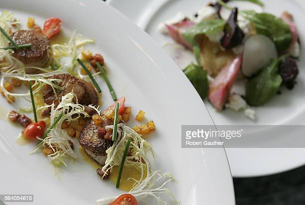 Seared Diver Scallops Red Kuri Squash Frisee Salad and Smoked Bacon is served with Farmer's Market Beet Salad Puff Pastry Goat Cheese Arugula Pine...