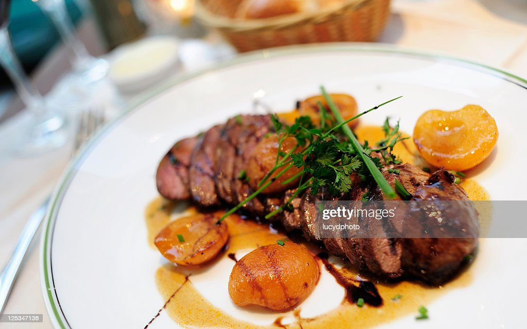 Seared duck breast with apricots