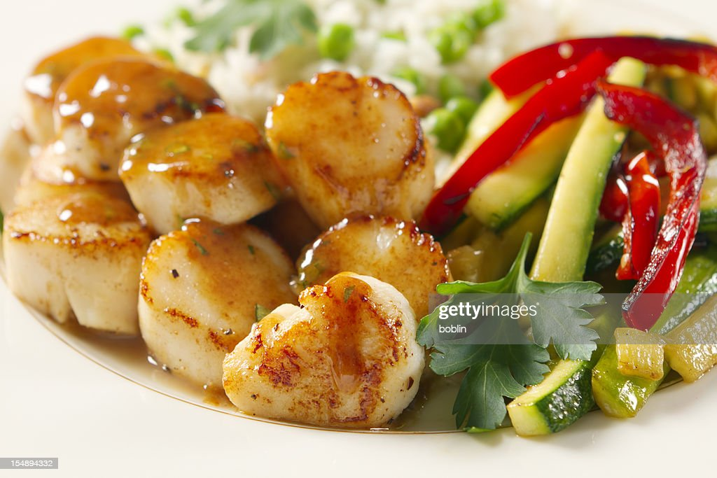 Stock Photo : Seared Scallops with Tarragon-Butter Sauce