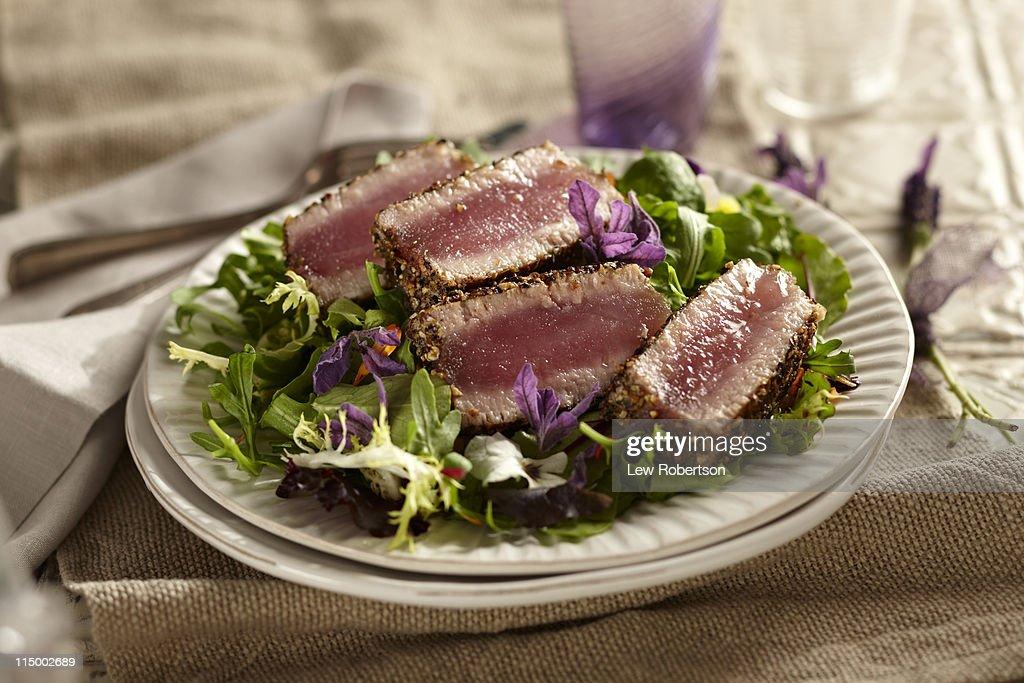 Seared Tuna with Lavender : Stock Photo
