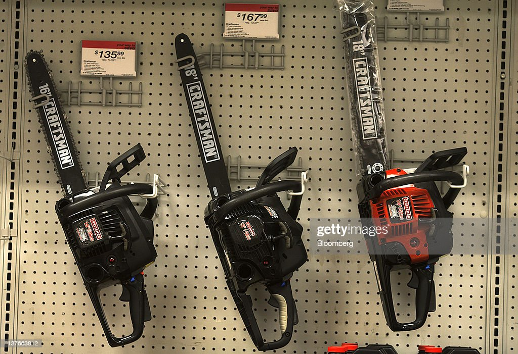 Sears Brand LLC Craftsman chainsaws are displayed for sale at a store in Jersey City, New Jersey, U.S., on Tuesday, Jan. 24, 2012. The U.S Census Bureau is scheduled to release durable goods data on Jan. 26. Photographer: Victor J. Blue/Bloomberg via Getty Images
