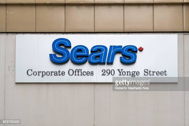 Sears sign logo at corporate offices in downtown district The company is under court protection against creditors