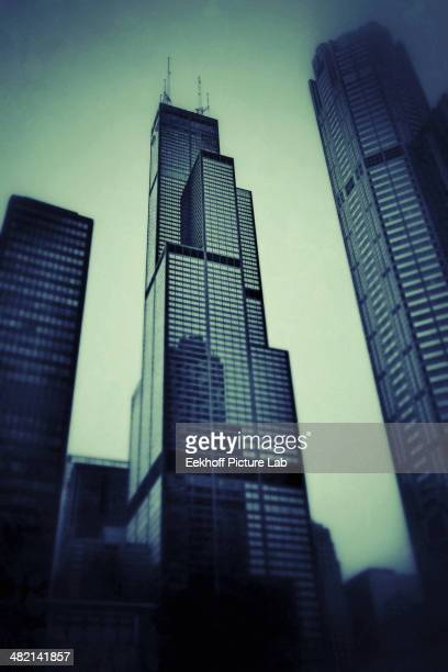 Sears Tower in fog, Chicago, Illinois, United States