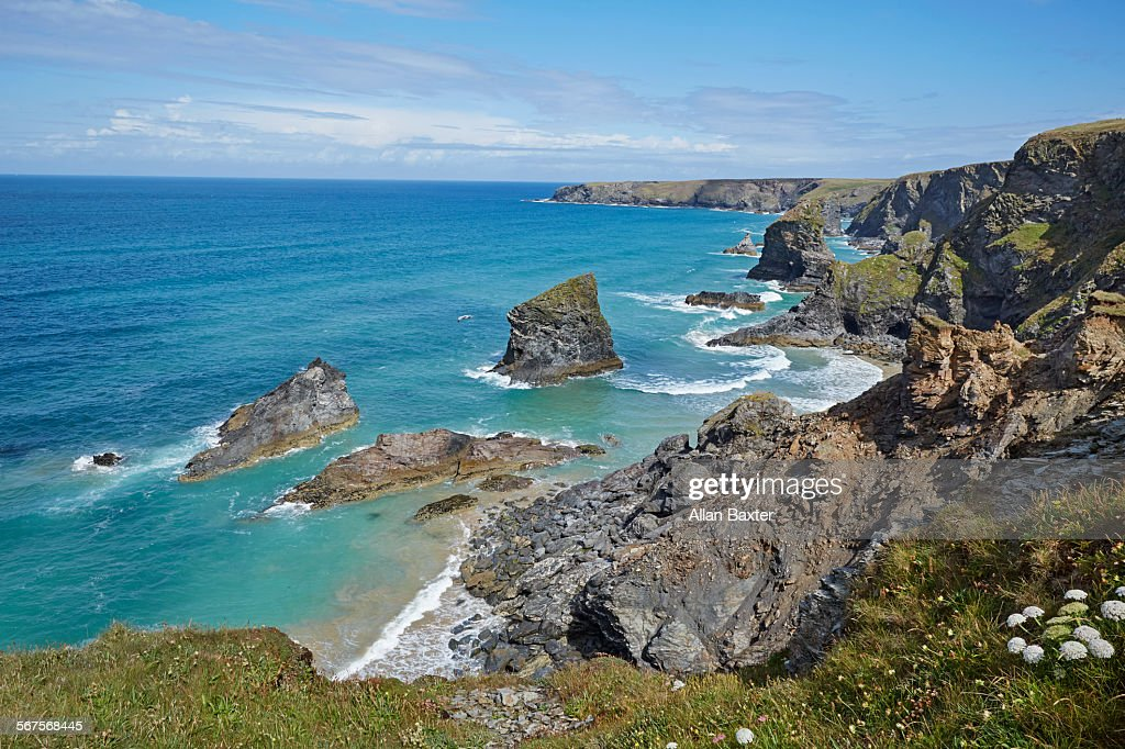 Seascape of Bedruthan steps in north Cornwall