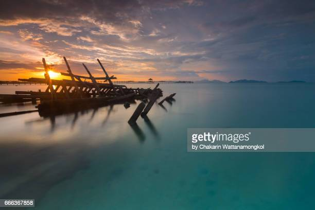 Seascape of Ko Mak Island at Sunset.