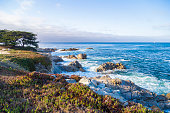 Seascape of Monterey Bay at Sunset in Pacific Grove, California, USA