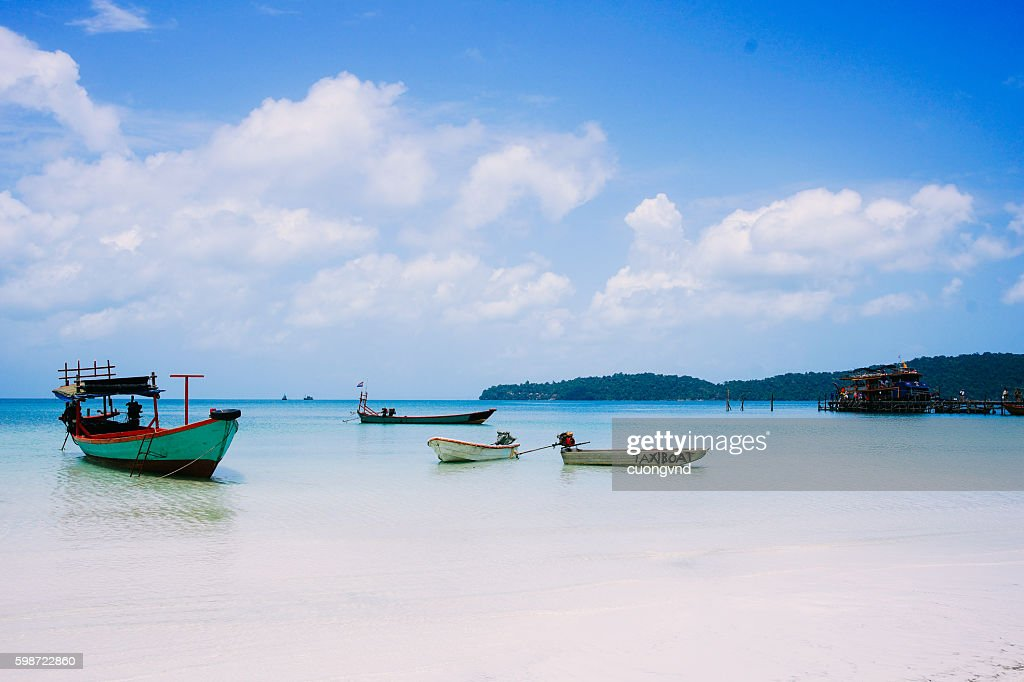 Seascape on tropical island Koh Rong in Cambodia : Stock Photo
