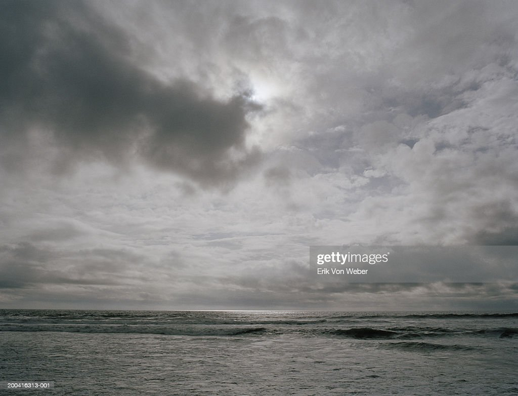 Seascape under overcast sky : Stock Photo