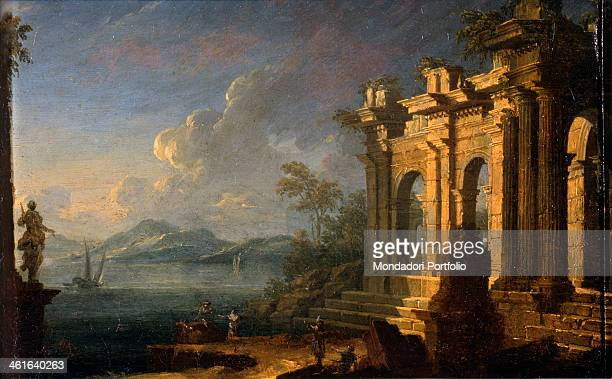 Seascape with Classic Arch by Unknown Artist from Veneto 18th Century oil on canvas Italy Lombardy Milan Castello Sforzesco Civic Collection of...