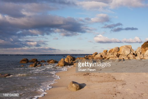 Seascape with shoreline, Beg Meil, Brittany : Stock Photo