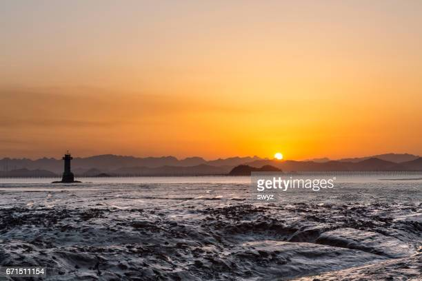 Seascape with sunset at Yueqing bay.