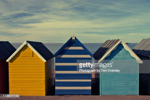 seaside beach huts : Foto de stock