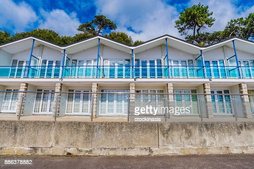 Seaside beach huts : Stock Photo