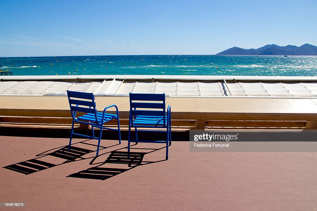 Seaside & blue chairs of the Croisette, Cannes