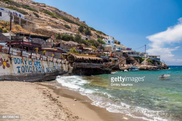 Seaside cafe at Matala beach, Heraklion, Crete,  Greece, Mediterranean