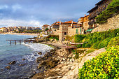 Seaside landscape - embankment with fortress wall in the city of Sozopol on the Black Sea coast in Bulgaria