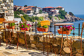 Seaside landscape - view from the cafe on the embankment in the town of Sozopol on the Black Sea coast in Bulgaria