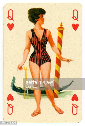 Junto al mar pin-up Romikartya 4 Vintage carta Hungría década de 1950