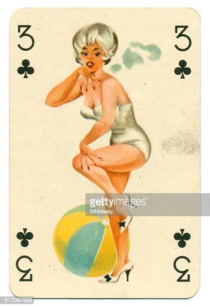 Sfondi con pin-up Romikartya 4 vintage carta da gioco Ungheria anni'50