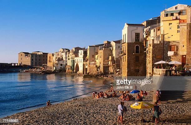 Seaside resort beach, Cefalu, Italy