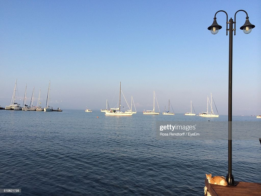 Seaside scenery with sailing boats