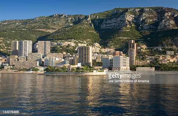 Seaside view of MonteCarlo and skyline the Principality of Monaco Western Europe on the Mediterranean Sea
