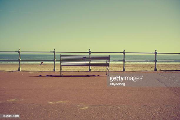 Seaside with promenade bench