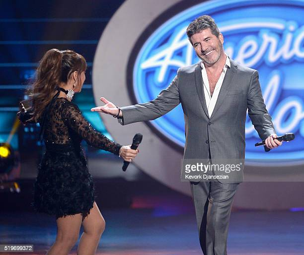 Season 1 judges Paula Abdul and Simon Cowell speak onstage during FOX's 'American Idol' Finale For The Farewell Season at Dolby Theatre on April 7...