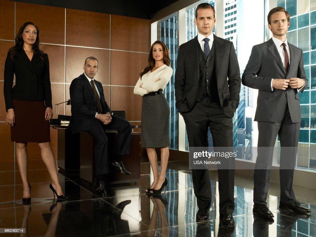 Gina Torres as Jessica Pearson, Rick Hoffmann as Louis Litt, Meghan Markle as Rachel Zane, Gabriel Macht as Harvey Specter, Patrick Adams as Mike Ross --