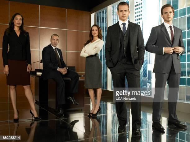 Gina Torres as Jessica Pearson Rick Hoffmann as Louis Litt Meghan Markle as Rachel Zane Gabriel Macht as Harvey Specter Patrick Adams as Mike Ross
