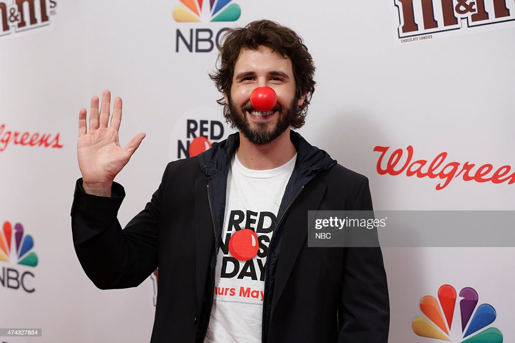Josh Groan arrives at NBC's 'Red Nose Day' Charity Event at the Hammerstein Ballroom in New York, NY on May 21, 2015 --