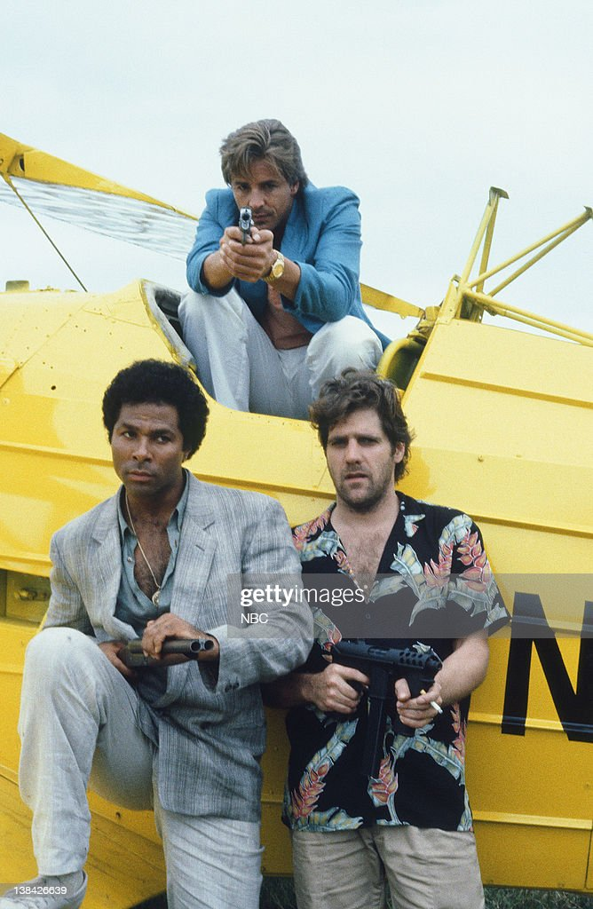 Philip Michael Thomas as Detective Ricardo 'Rico' Tubbs, Don Johnson as Detective James 'Sonny' Crockett, <a gi-track='captionPersonalityLinkClicked' href=/galleries/search?phrase=Glenn+Frey&family=editorial&specificpeople=223995 ng-click='$event.stopPropagation()'>Glenn Frey</a> as Jimmy Cole