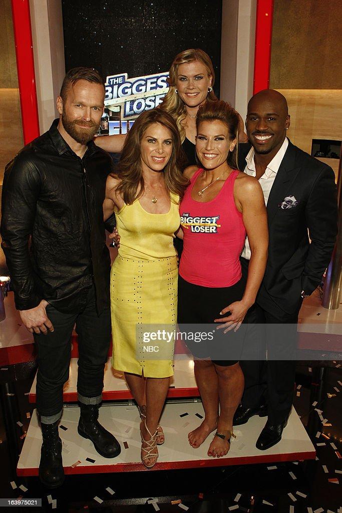 LOSER -- Season 14 Live Finale -- Pictured: (l-r) Bob Harper, Jillian Michaels, Alison Sweeney, Dannielle 'Danni' Allen, Dolvett Quince --