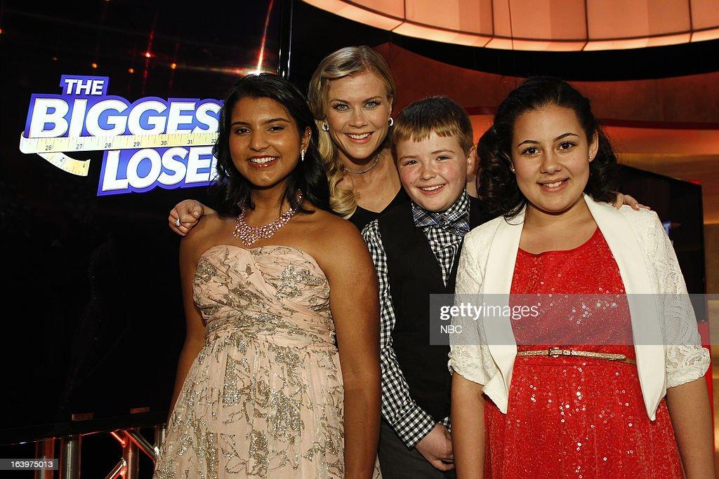 LOSER -- Season 14 Live Finale -- Pictured: (l-r) Sanjana 'Sunny' Chandrasekar, Alison Sweeney, Noah 'Biingo' Gray, Lindsay Bravo --