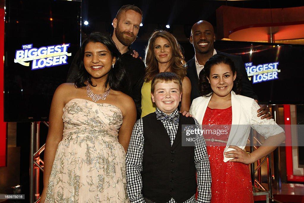 LOSER -- Season 14 Live Finale -- Pictured: (l-r) Sanjana 'Sunny' Chandrasekar, Bob Harper, Jillian Michaels, Noah 'Biingo' Gray, Dolvett Quince, Lindsay Bravo --