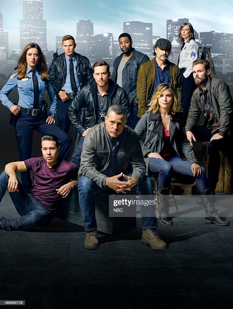 top row; Marina Squerciati as Officer Kim Burgess, Brian Geraghty as Officer Sean Roman, Jesse Lee Soffer as Detective Jay Halstead, LaRoyce Hawkins as Detective Kevin Atwater, Elias Koteas as Detective Alvin Olinsky, Amy Morton as Desk Sgt. Trudy Platt, Patrick John Flueger as Officer Adam Ruzek bottom row; Jon Seda as Detective Antonio Dawson, Jason Beghe as Sergeant Hank Voight, Sophia Bush as Detective Erin Lindsay --