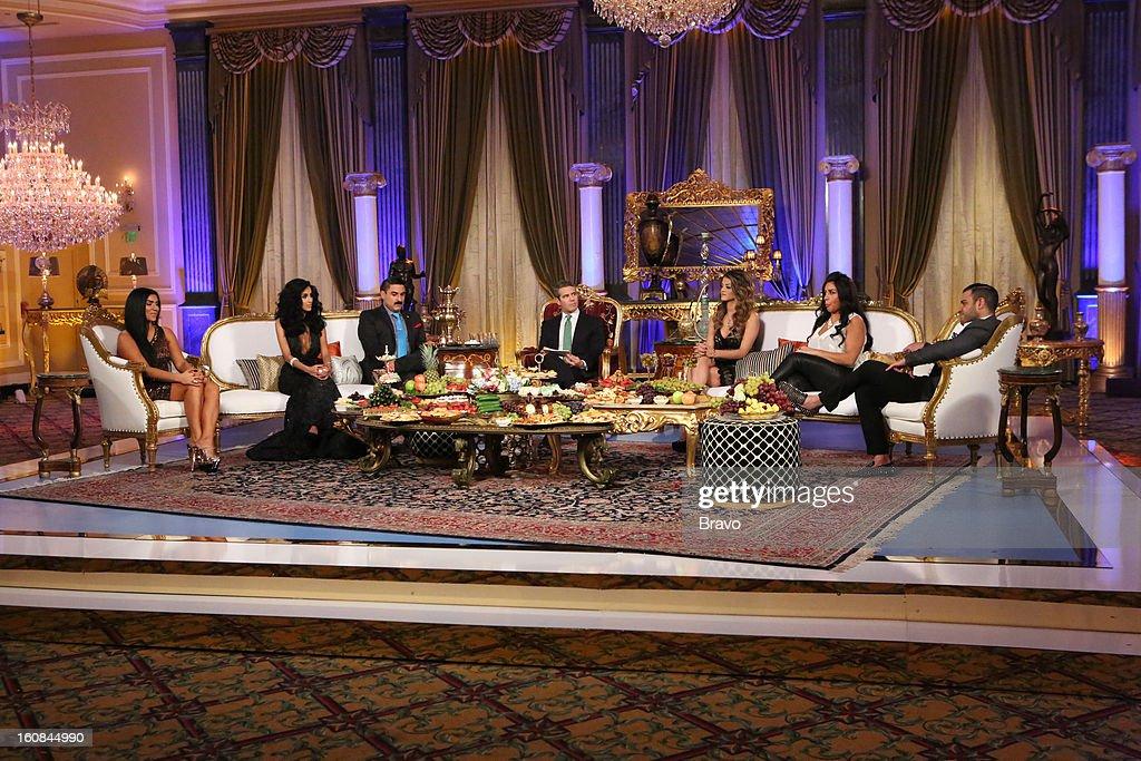 SUNSET -- 'Season 2 Reunion' -- Pictured: (l-r) Asa Soltan Rahmati, Lilly Ghalichi, Reza Farahan, Andy Cohen, Golnesa 'GG' Gharachedaghi, Mercedes 'MJ' Javid, Mike Shouhed --