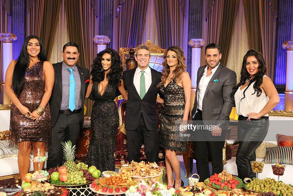 SUNSET -- 'Season 2 Reunion' -- Pictured: (l-r) Asa Soltan Rahmati, Reza Farahan, Lilly Ghalichi, Andy Cohen, Golnesa 'GG' Gharachedaghi, Mike Shouhed, Mercedes 'MJ' Javid --