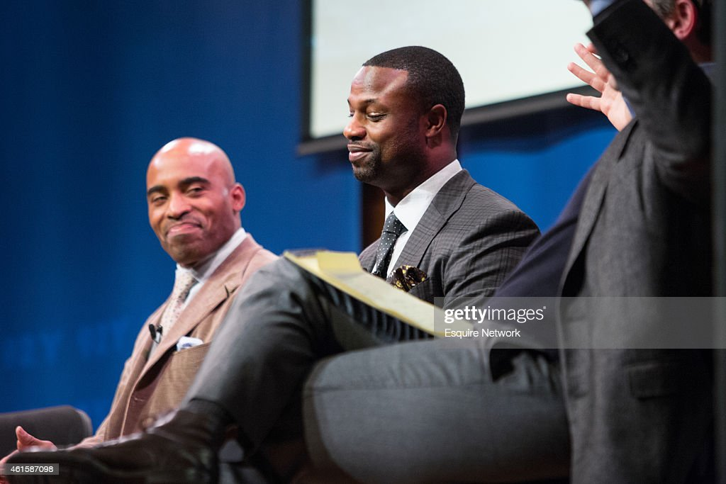 Barber Bart : ... and Panel -- Pictured: (l-r) Tiki Barber , Bart Scott -- Show more