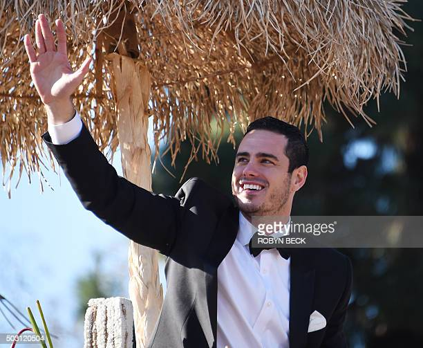 Season 20 bachelor Ben Higgins rides on 'The Bachelor' Love Is the Greatest Journey' float in the 127th Rose Parade in Pasadena California on January...