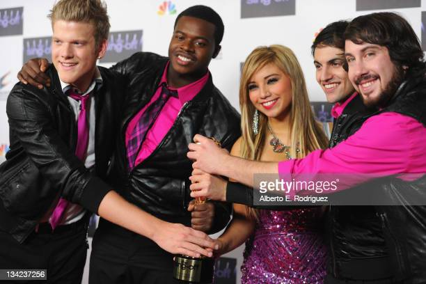 Season 3 winners singing group Pentatonix arrives to NBC's 'The Sing Off' Live Finale at Sony Pictures Studios on November 28 2011 in Culver City...