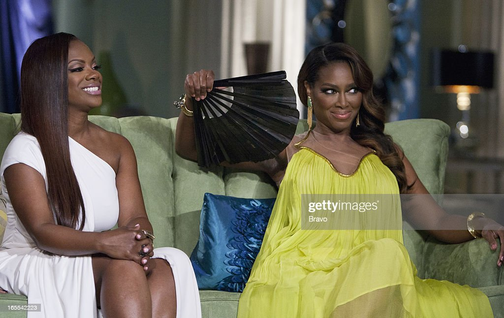 ATLANTA -- 'Season 5 Reunion' Episodes 521, 522, 523 -- Pictured: (l-r) <a gi-track='captionPersonalityLinkClicked' href=/galleries/search?phrase=Kandi+Burruss&family=editorial&specificpeople=4401257 ng-click='$event.stopPropagation()'>Kandi Burruss</a>, <a gi-track='captionPersonalityLinkClicked' href=/galleries/search?phrase=Kenya+Moore&family=editorial&specificpeople=678382 ng-click='$event.stopPropagation()'>Kenya Moore</a> --