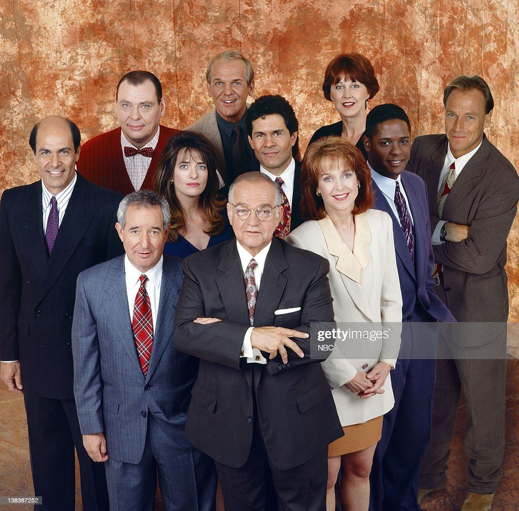 Larry Drake as Benny Stulwicz, John Spencer as Tommy Mullaney, Susan Ruttan as Roxanne Melman, (Middle, l-r) Alan Rachins as Douglas Brackman, Jr., Sheila Kelley as Gwen Taylor, Harry Hamlin as Michael Kuzak , Blair Underwood as Jonathan Rollins, (Front, l-r) Michael Tucker as Stuart Markowitz, Richard Dysart as Leland McKenzie, Jill Eikenberry as Ann Kelsey