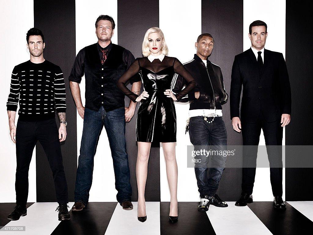 7 Pictured lr Adam Levine Blake Shelton Gwen Stefani Pharrell Williams and Carson Daly