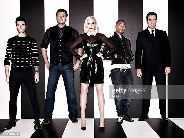 7 Pictured lr Adam Levine Blake Shelton Gwen Stefani Pharrell Williams and Carson Daly