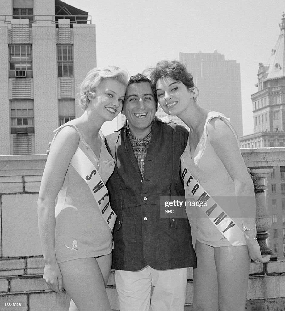 Miss Sweden Marie Louise Ekstrom Tony Bennett Miss Germany Carmela Kunzel