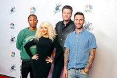 THE VOICE 'Season 8 Press Junket' Pictured Pharrell Williams Christina Aguilera Blake Shelton Adam Levine