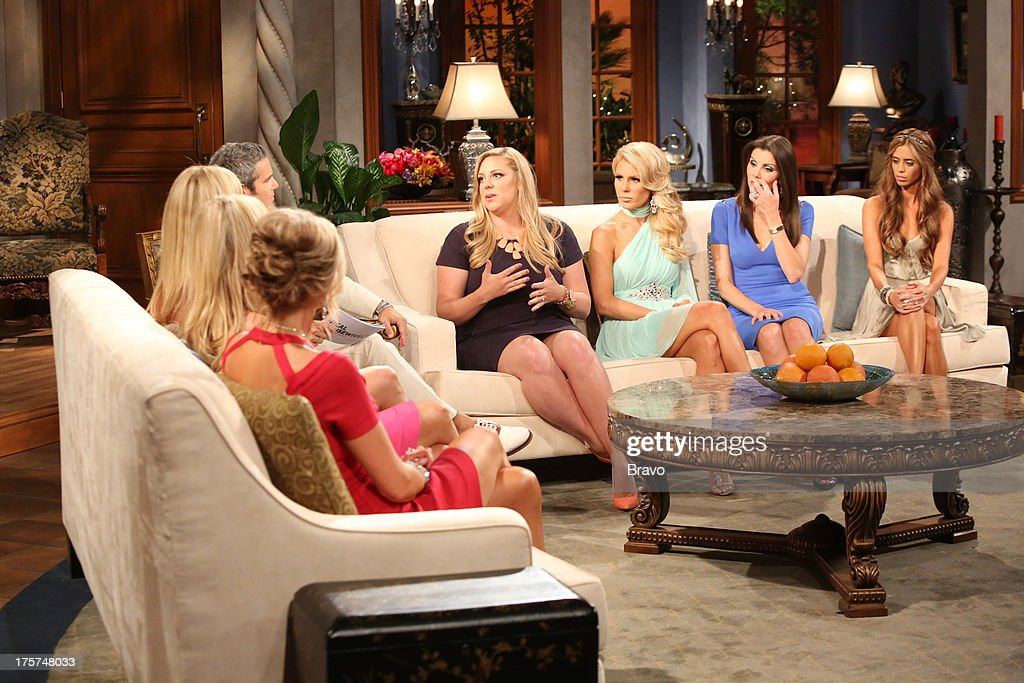 COUNTY --'Season 8 Reunion Special' -- Pictured: (l-r) Alexis Bellino, Andy Cohen, Briana Wolfsmith-Culberson, Gretchen Rossi, Heather Dubrow, Lydia McLaughlin --