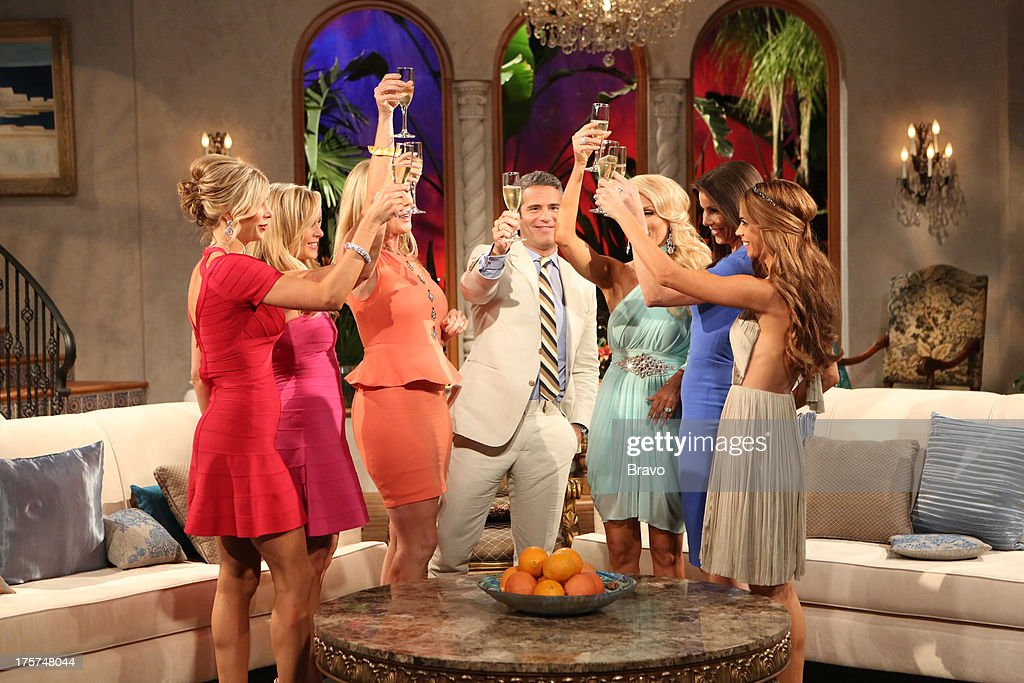 COUNTY --'Season 8 Reunion Special' -- Pictured: (l-r) Alexis Bellino, Tamra Barney, Vicki Gunvalson, Andy Cohen, Gretchen Rossi, Heather Dubrow, Lydia McLaughlin --